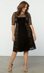 PRE ORDER: Mixed Lace Cocktail Dress - Black Lace & Caramel