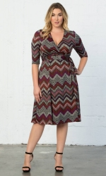 PRE ORDER: Essential Wrap Dress - Chevron Mix Print