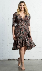 PRE ORDER: Flirty Flounce Wrap Dress - Black Paisley Print