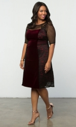 PRE ORDER: Mixed Lace Cocktail Dress - Black Lace & Bordeaux