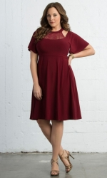 PRE ORDER: Elise Flutter Dress - Rich Garnet
