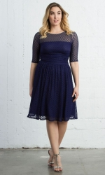 PRE ORDER: Alexa Retro Dot Dress - Navy Blue