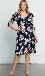PRE ORDER: Winnie Wrap Dress - Navy Blush Print