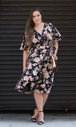 PRE ORDER: Cecile Chiffon Wrap Dress - Midnight Carnation