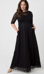 PRE ORDER: Leona Lace Gown - Onyx