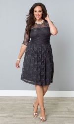 PRE ORDER: Luna Lace Dress - Dark Grey