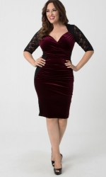 PRE ORDER: Hourglass Lace Dress - Wine