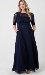 PRE ORDER: Leona Lace Gown - Navy