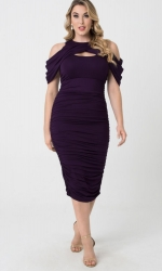 PRE ORDER: Bianca Ruched Dress - Plum