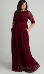 PRE ORDER: Leona Lace Gown - Pinot Noir