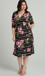 PRE ORDER: Essential Wrap Dress - Black Rose Print