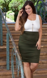 PRE ORDER: Helena Ruched Skirt - Olive Martini