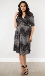 PRE ORDER: Essential Wrap Dress - Black Chevron Print