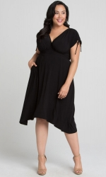 PRE ORDER: Tessa Ruched Dress - Black Noir