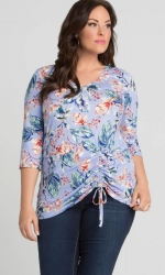 PRE ORDER: Rory Ruched Top - Sky Blue Tropical