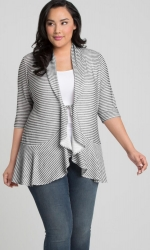 PRE ORDER: Felicity Flounce Cardigan - Graphite / White