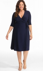 PRE ORDER: Essential Wrap Dress - Nouveau Navy