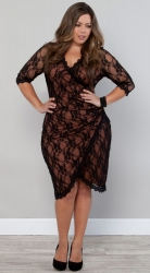 PRE ORDER: Gigi Lace Cinch Dress - Cinnamon / Black