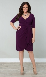 PRE ORDER: Harlow Faux Wrap Dress - Plum
