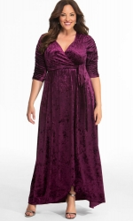PRE ORDER: Cara Velvet Wrap Dress - Mystic Plum