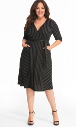 PRE ORDER: Harmony Faux Wrap Dress - Black / Ivory Stripes