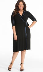 PRE ORDER: Harper Wrap Dress - Periwinkle / Black
