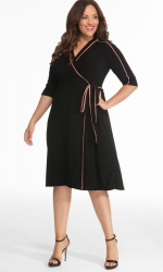 PRE ORDER: Harper Wrap Dress - Peach / Black