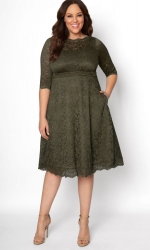 PRE ORDER: Lacey Cocktail Dress - Olive Martini