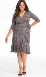 PRE ORDER: Flirty Flounce Wrap Dress - Houndstooth Plaid