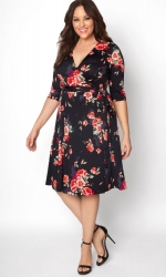 PRE ORDER: Essential Wrap Dress - Scarlet Bloom