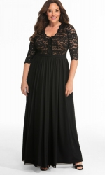 PRE ORDER: Jasmine Lace Evening Gown - Onyx