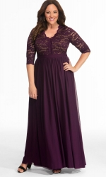 PRE ORDER: Jasmine Lace Evening Gown - Imperial Plum