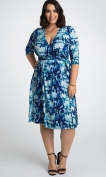 PRE ORDER: Essential Wrap Dress - Indigo Rain Print