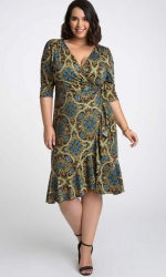 PRE ORDER: Flirty Flounce Wrap Dress - Blue Coral Print