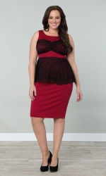 PRE ORDER: Lady in Lace Peplum Dress - Red