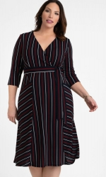 PRE ORDER: Harmony Faux Wrap Dress - Navy Stripes