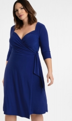 PRE ORDER: Sweetheart Knit Wrap Dress - Cobalt Blue