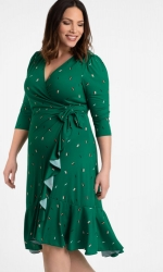 PRE ORDER: Flirty Flounce Wrap Dress - Green Confetti