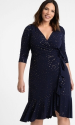 PRE ORDER: Flirty Flounce Wrap Dress - Navy Golden Dots