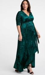PRE ORDER: Cara Velvet Wrap Dress - Peacock Teal
