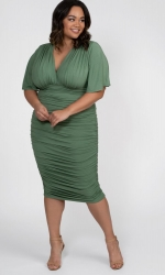 PRE ORDER: Rumor Ruched Dress - Sage