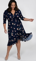 PRE ORDER: Flirty Flounce Wrap Dress - Peach Floral Print