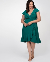 PRE ORDER: Phoebe Flounce Wrap Dress - Peacock Jade
