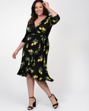 PRE ORDER: Flirty Flounce Wrap Dress - Lemon Print