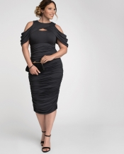 PRE ORDER: Bianca Ruched Dress - Charcoal Grey
