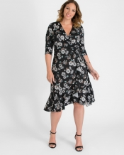 PRE ORDER: Flirty Flounce Wrap Dress - Autumn Bloom Print