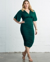 PRE ORDER: Rumor Ruched Dress - Emerald Green