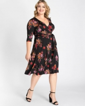 PRE ORDER: Essential Wrap Dress- Black Floral Print