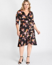 PRE ORDER: Flirty Flounce Wrap Dress - Vibrant Blooms