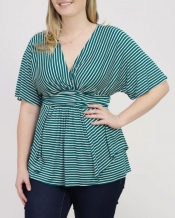 PRE ORDER: Promenade Top - Green Striped Print